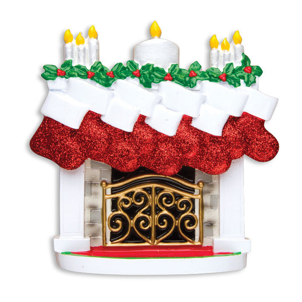 TT1253-9 - Mantle with Christmas Stockings Table Topper (Family of 9)