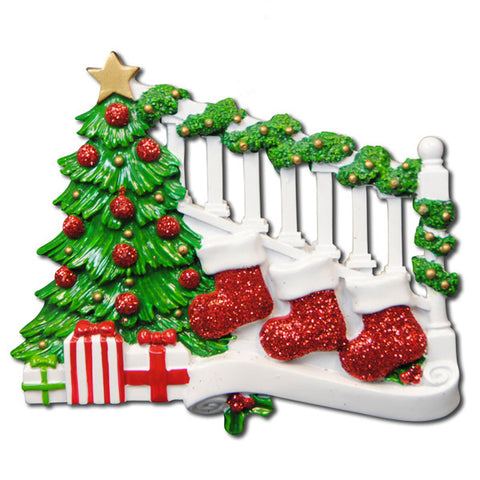 TT823-3 - Bannister with 3 Stockings Christmas Table Topper