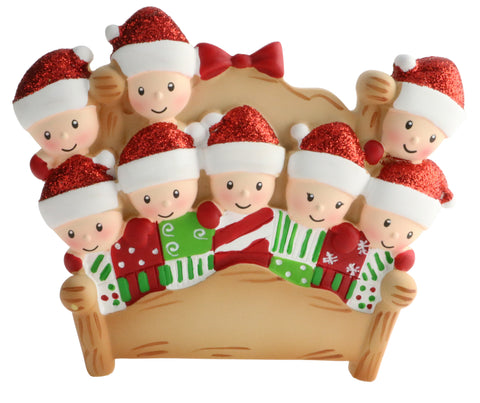 OR1469-8 - Bed Family of 8 Personalized Christmas Ornament