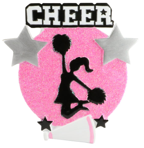 OR1625-PK - Cheer Is Life Silhouette (Pink) Personalized Christmas Ornament