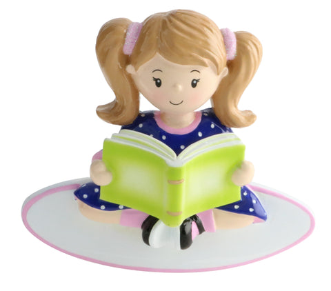 OR1750-G - Girl Reading a Book Personalized Christmas Ornament