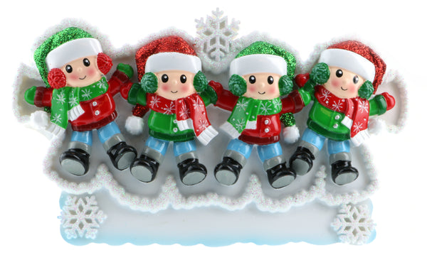 TT1662-4 - Snow Angel Family of 4 Table Topper