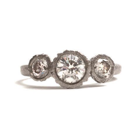 Precious Big Rock Trio White Gold Ring