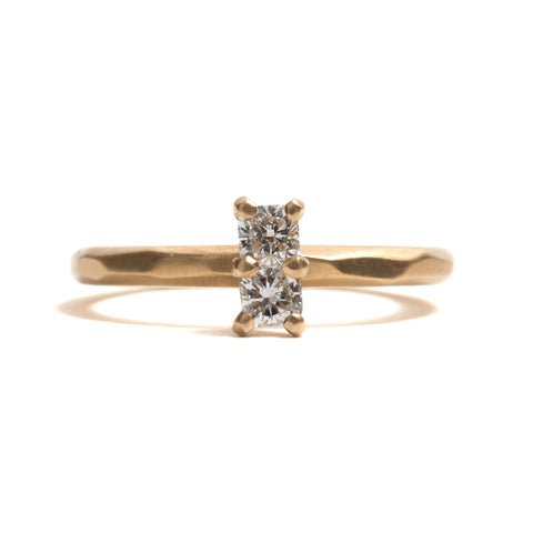 Cushion Cut Diamond Vertical Soul Mates Ring