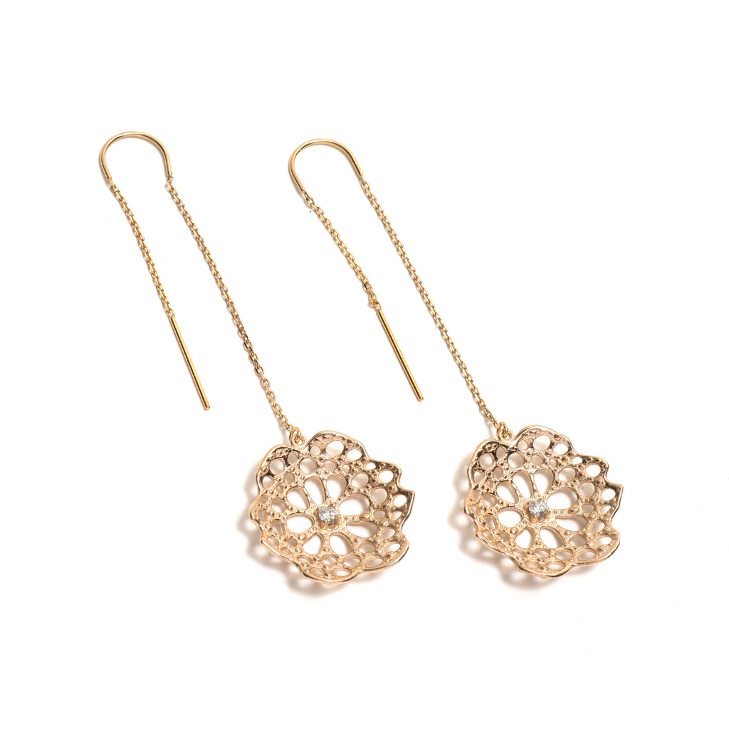 Threaded Radial Diamond Earrings