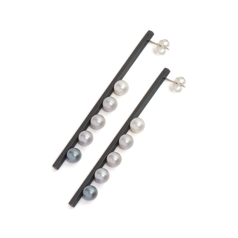 Vertical Gradient Suspended Pearl Earrings by Melanie Katsalidis