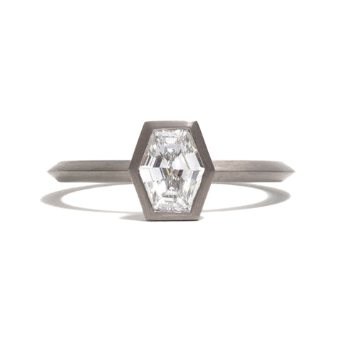 White Gold Long Hexagonal Diamond Ring