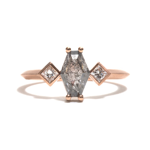Three Stone Salt and Pepper Diamond Ring by Melanie Katsalidis