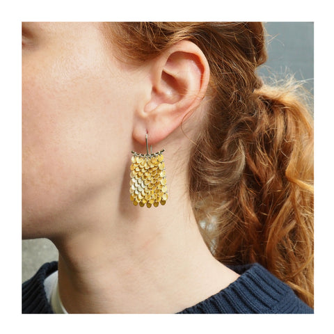 Yellow and Green Gold Butterfly Wing Sequin Earrings