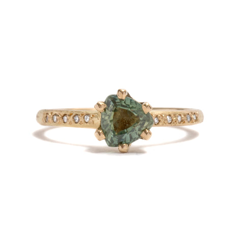 Yellow Gold Stone Love Trilliant Sapphire Ring by Karla Way