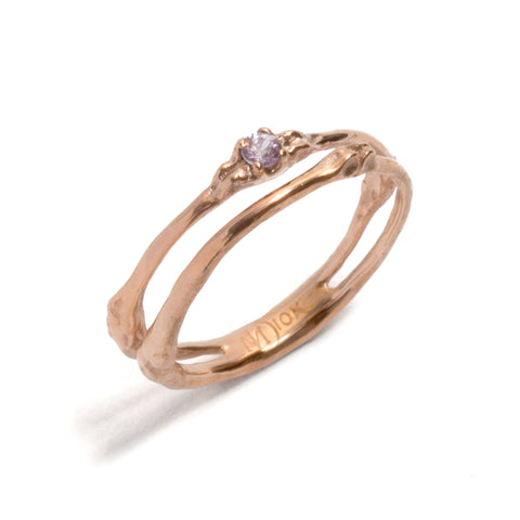 Fine Rose Gold Towers Double Ring by Luke Maninov Hammond