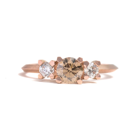 Three Stone Champagne and White Diamond Ring by Melanie Katsalidis