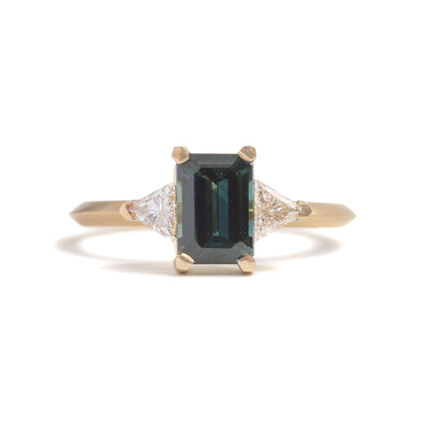 Emerald Cut Sapphire and Diamond Love Ritual Ring by Melanie Katsalidis