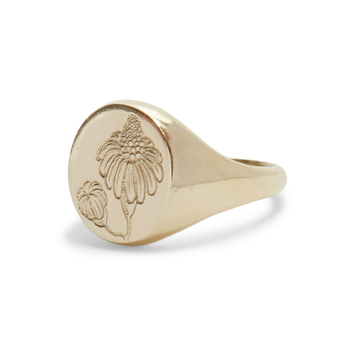 Droopy Daisy Signet Ring by Anna Marrone