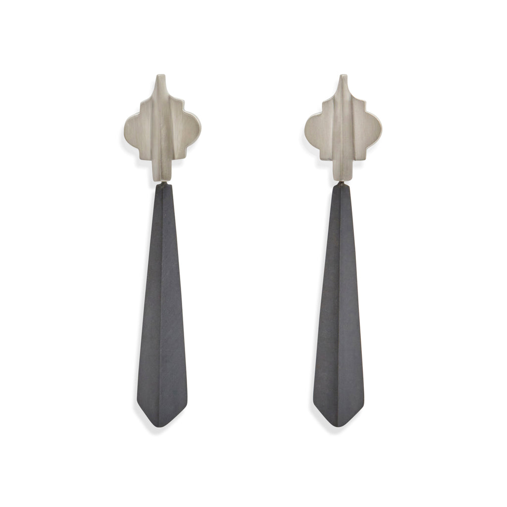 Oxidised Drop Cathedral Earrings