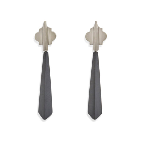 Oxidised Drop Cathedral Earrings by Amy Renshaw