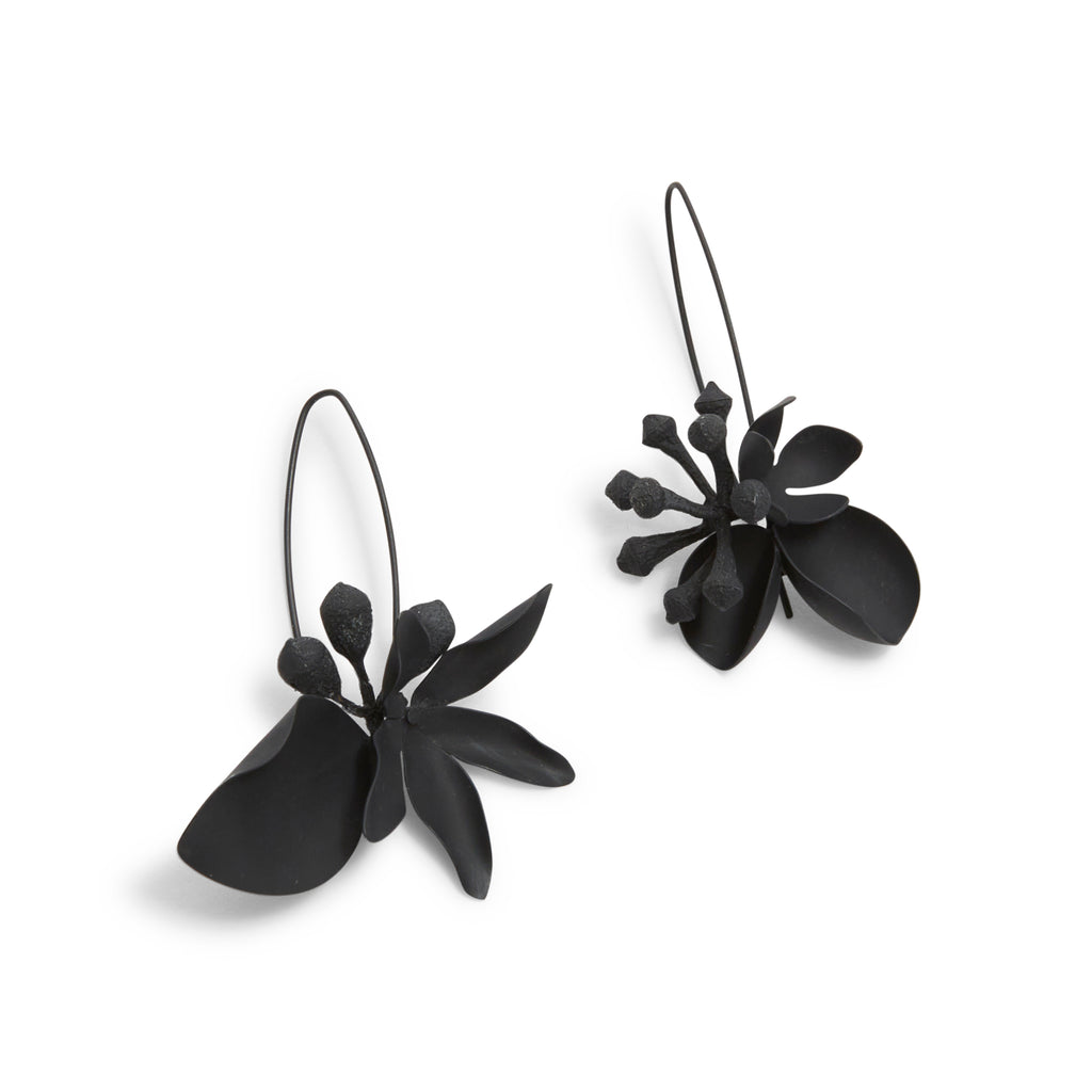 Medium Oxidised Native Bouquet Hook Earrings