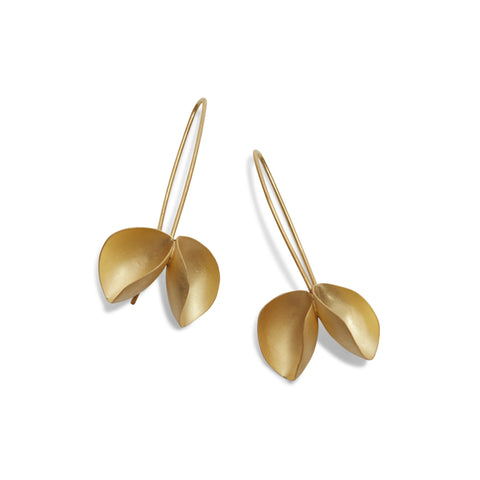 Golden Double Pod Hook Earrings by Belinda Esperson