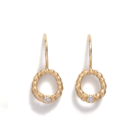 Seeded Circle Diamond Earrings by Julia Storey