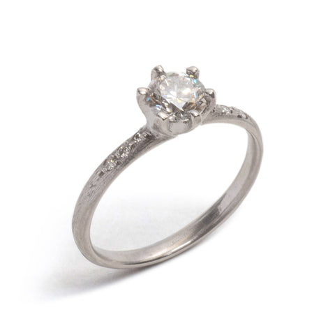 White Gold Stone Love Diamond Solitaire Ring