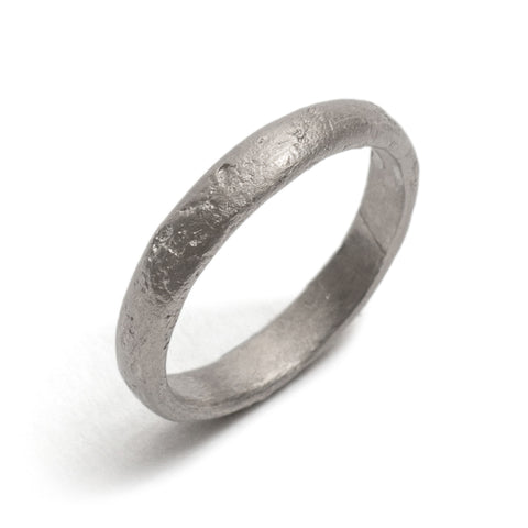 Half Round White Gold Textured Wedding Ring