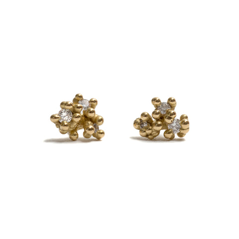 Diamond and Granules Stud Earrings