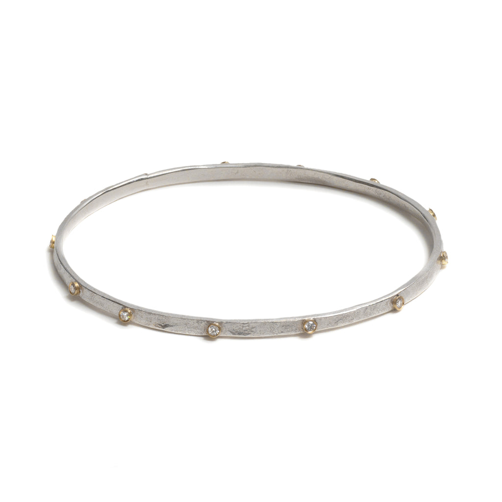 Gold and Silver Diamond Bangle