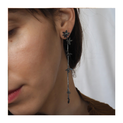 Oxidised Daisy Drop Earrings