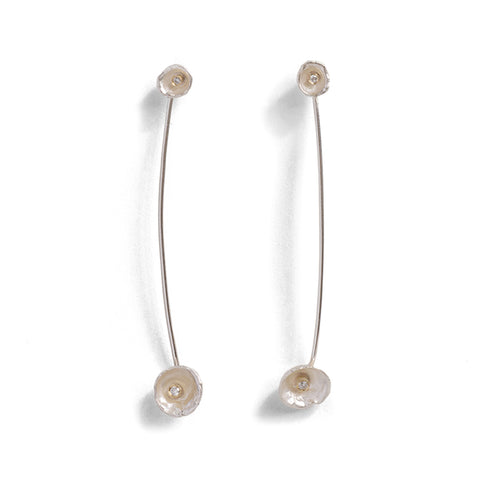Acorn Cup Diamond Drop Earrings by Shimara Carlow