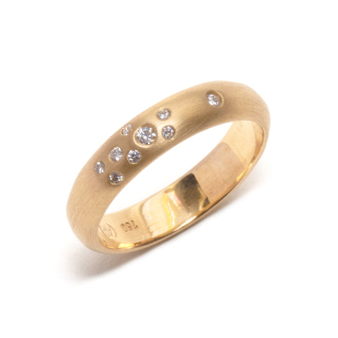Yellow Scatter Diamond Wedding Ring