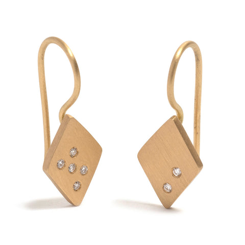 Diamond and Yellow Gold Diamond Shaped Earrings by Amy Renshaw