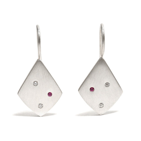 Speckled Triangle Diamond and Ruby Earrings by Amy Renshaw