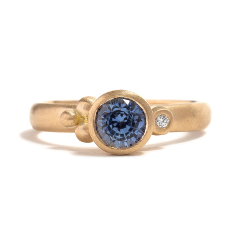 Yellow Gold and Ceylon Sapphire Droplet Ring