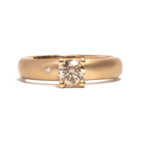 Yellow Gold and Diamond Promise Ring by Amy Renshaw
