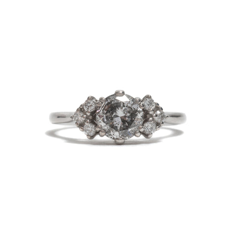 Bea Arrow Salt and Pepper Diamond Ring by Anna Sheffield
