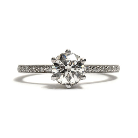 Hazeline Extended PavÌ_  White Diamond Solitaire Ring by Anna Sheffield