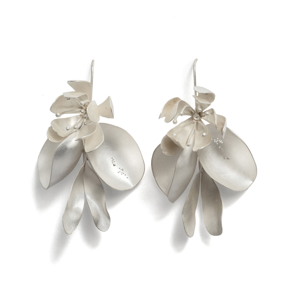 Constructed Three Flower and Pod Earrings