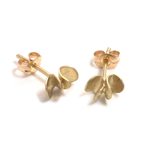 Gold Seed and Pod Stud Earrings