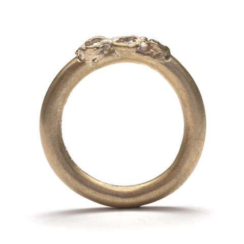 Gold Three Zirconia Ring
