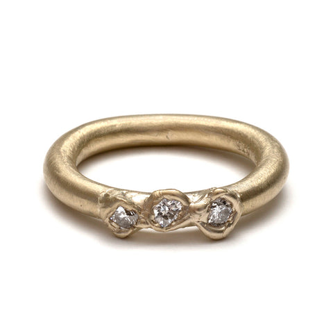 Gold Three Zirconia Ring by Belinda Esperson