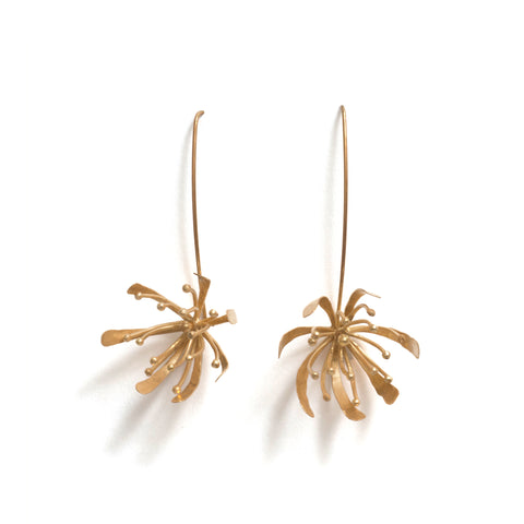 Golden Native Orchid Earrings by Belinda Esperson