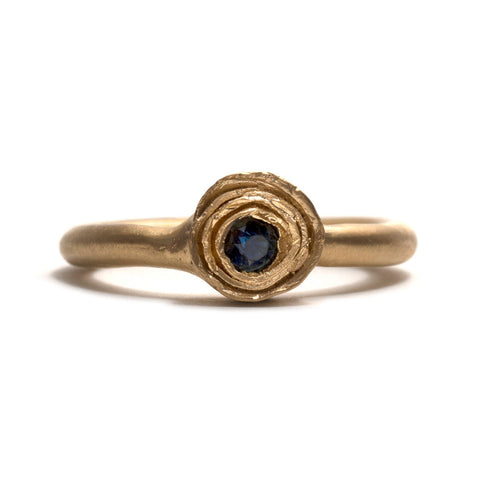 Wrapped Gold and Sapphire Solitaire Ring