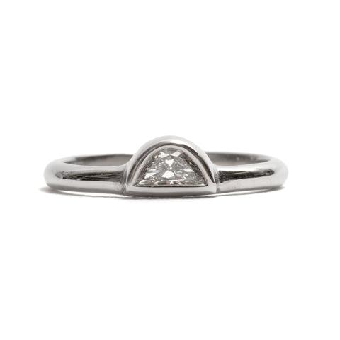 Half Moon Diamond and White Gold Ring by David Neale