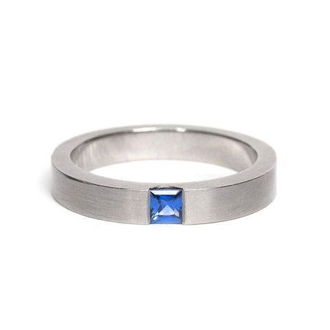 Mid Blue Sapphire Ring by David Parker
