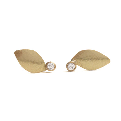 Diamond Leaf Stud Earrings by Shimara Carlow