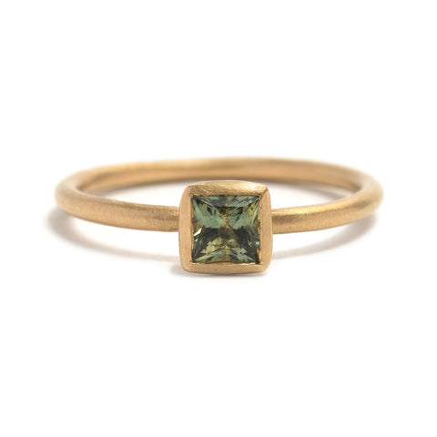 Square Green Sapphire Transformations Ring by Djurdjica Kesic