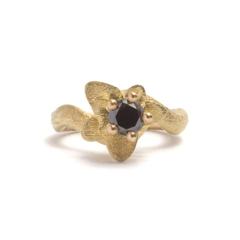 Golden Flower Snake Diamond Ring by Emma Homfray