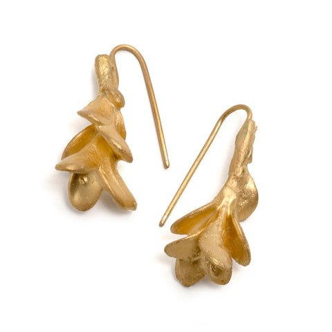 Falling Gold Leaves Earrings by Emma Homfray