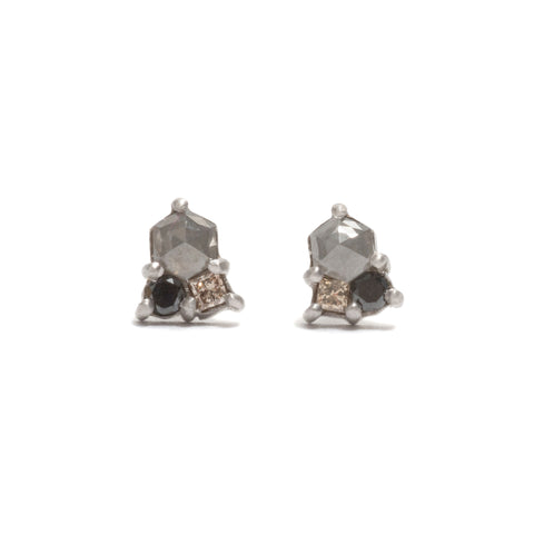 Stormy Cluster Diamond Stud Earrings by Julia Storey