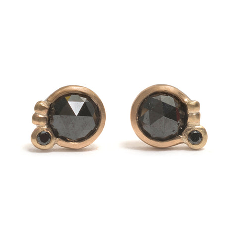 Floret Black Diamond Stud Earrings by Julia Storey